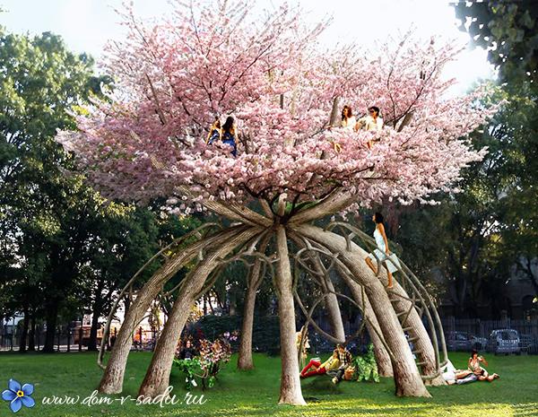 оригинальная садовая беседка из дерева