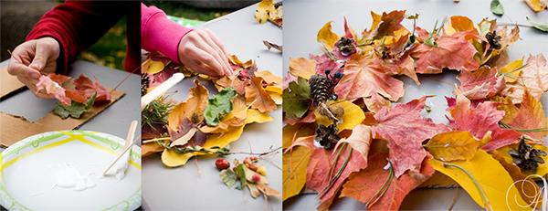 как делать венок из листьев