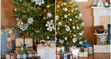 как украсить елку снежинками