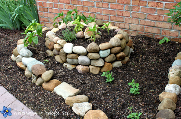 садовая клумба из камней