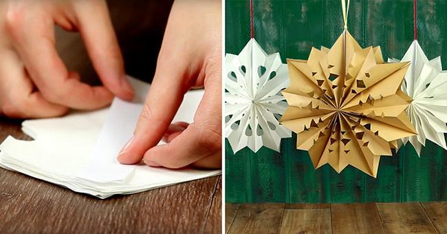как сделать объемную новогоднюю снежинку