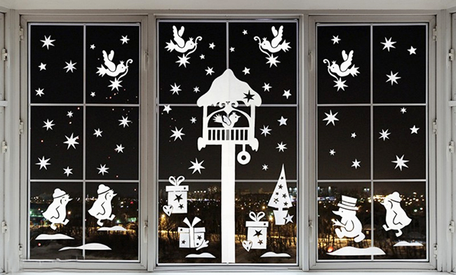 зимние вытынанки на окна
