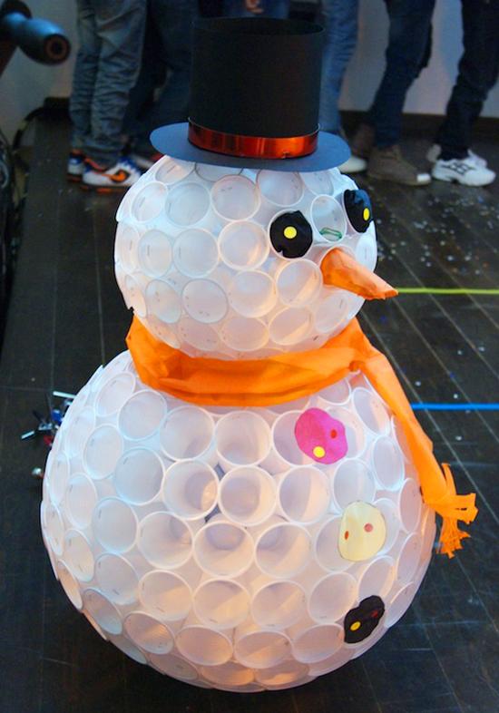 Снеговик из пластиковых стаканов снеговик из пластиковых