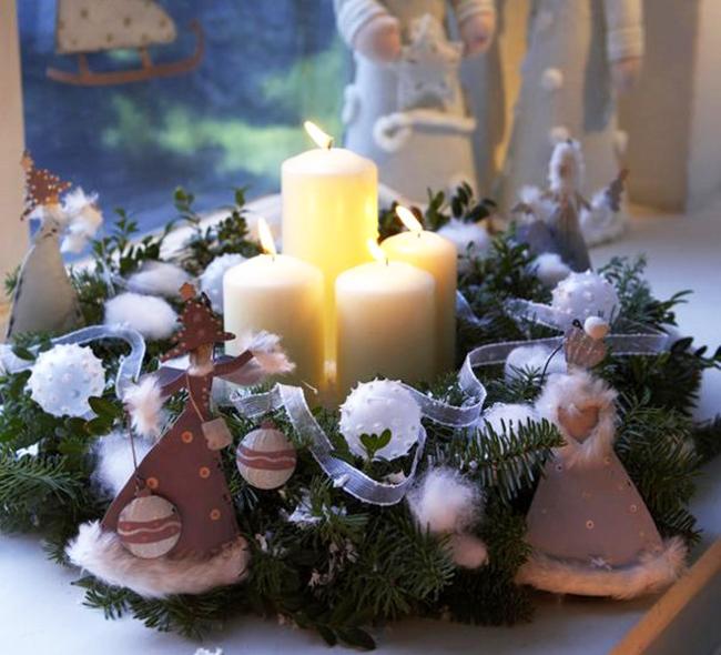 новогодние композиции со свечами