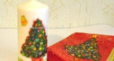украшение свечи на Новый год своими руками