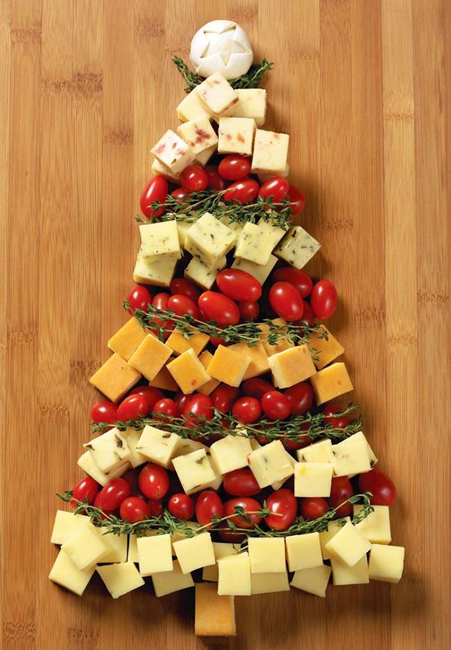 красивое оформление нарезки из сыра и помидор