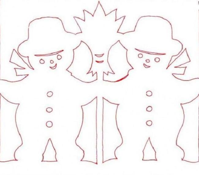 шаблон из бумаги снеговики